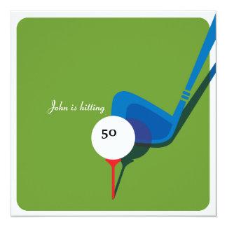 """Golf 50th Birthday - Still Swinging! 5.25"""" Square Invitation Card"""