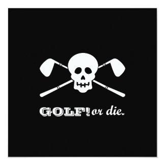 """Golf 80th Birthday - Still Swinging! 5.25"""" Square Invitation Card"""