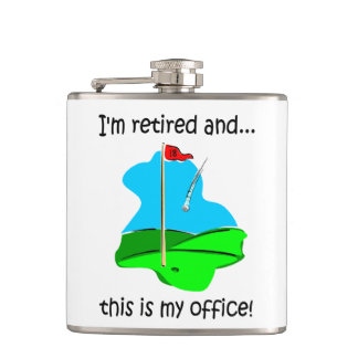 golf and retirement hip flask