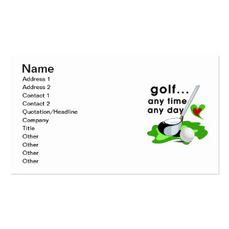 Golf Any Time Any Day T-shirts and Gifts Pack Of Standard Business Cards