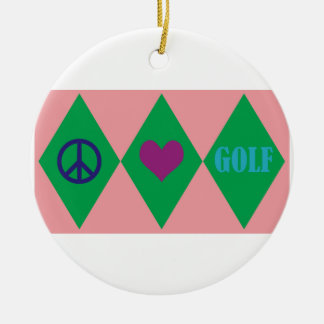Golf Argyle Christmas Ornament