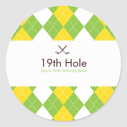 Golf Argyle Gift Label Sticker
