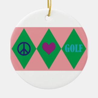 Golf Argyle Round Ceramic Decoration