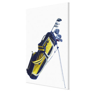 Golf bag with clubs on white background canvas print