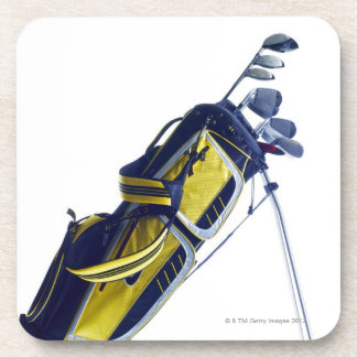 Golf bag with clubs on white background coaster