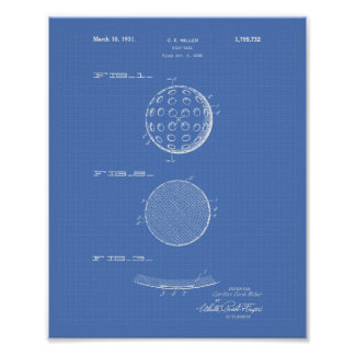 Golf Ball 1931 Patent Art Blueprint Poster