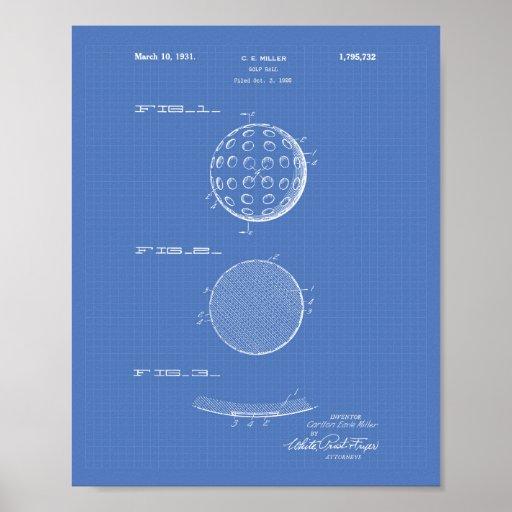 Golf Ball 1931 Patent Art Blueprint Poster
