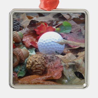 Golf Ball and fall leaves and acorns Christmas Ornaments