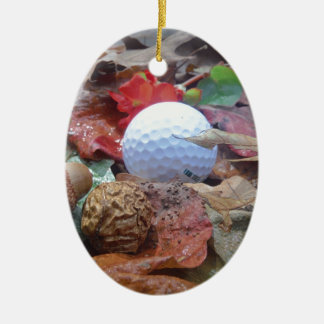 Golf Ball and fall leaves and acorns Ornaments