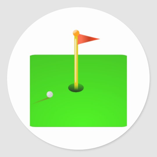 Golf Ball and Golf Flag Classic Round Sticker