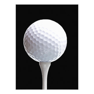 Golf Ball and Tee on Black- Customized Custom Invites
