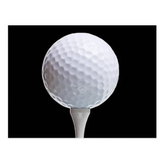 Golf Ball and Tee on Black- Customized Postcard