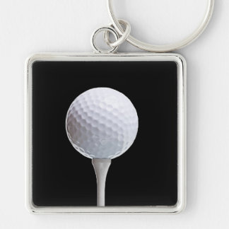 Golf Ball and Tee on Black- Customized Silver-Colored Square Key Ring