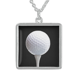 Golf Ball and Tee on Black- Customized Sterling Silver Necklace