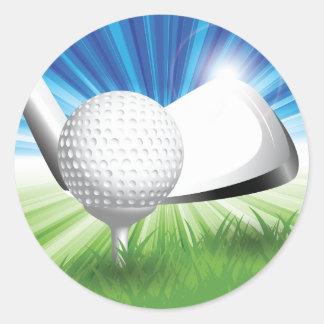 Golf Ball and Tee Stickers Round Sticker
