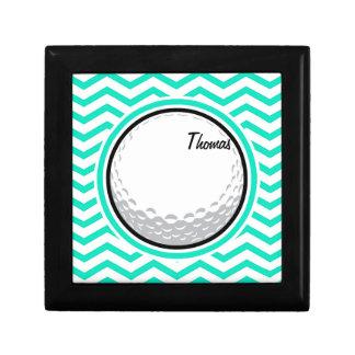 Golf Ball Aqua Green Chevron Gift Boxes