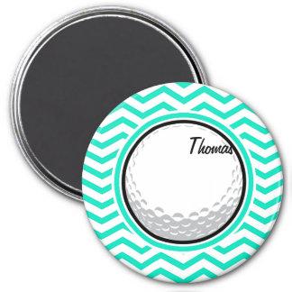 Golf Ball Aqua Green Chevron Fridge Magnets