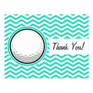 Golf Ball; Aqua Green Chevron Post Cards