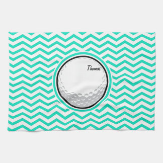 Golf Ball; Aqua Green Chevron Tea Towel