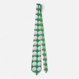 Golf Ball Art Pattern Green Tie