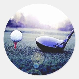 Golf Ball & Bat Round Sticker