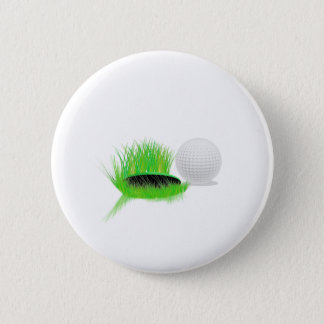 golf  ball beside  hole 6 cm round badge