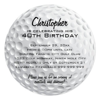 "Golf Ball Birthday Party 5.25"" Square Invitation Card"