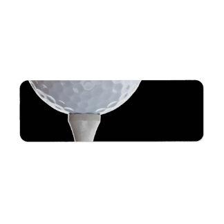 Golf Ball Black Background Golfing Sports Template Return Address Label