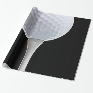 Golf Ball Black Background Golfing Sports Template Wrapping Paper
