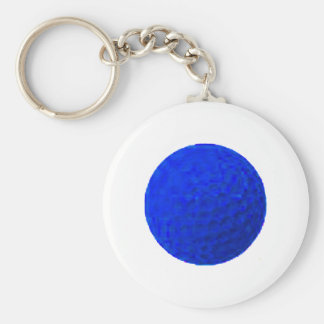 Golf Ball Blue The MUSEUM Zazzle Gifts Basic Round Button Key Ring