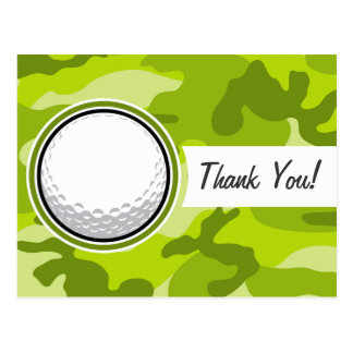 Golf Ball; bright green camo, camouflage Post Cards
