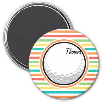 Golf Ball Bright Rainbow Stripes Refrigerator Magnets