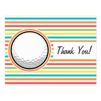 Golf Ball; Bright Rainbow Stripes Postcards