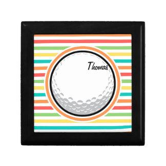 Golf Ball Bright Rainbow Stripes Trinket Box