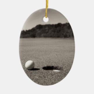 Golf Ball by Hole Christmas Ornament