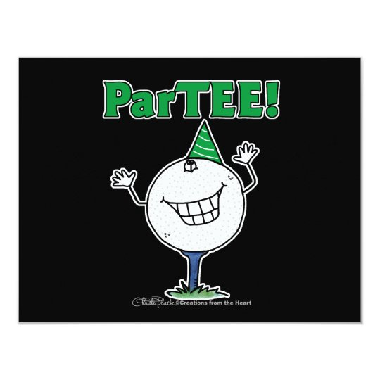 Golf Ball Character ParTEE! 11 Cm X 14 Cm Invitation Card