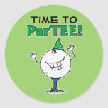 Golf Ball Character ParTEE! Round Sticker