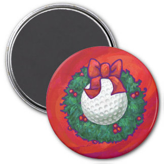 Golf Ball Christmas Wreath on Red Magnet