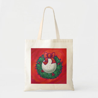 Golf Ball Christmas Wreath on Red Tote Bag
