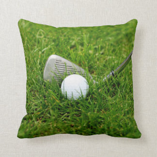 Golf Ball, Club, Iron and Green Grass Cushion