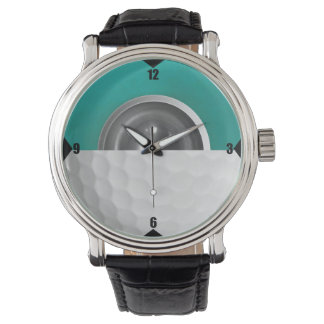Golf Ball Core Design Vintage Leather Watch