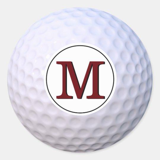 Golf Ball Customisable Monogram Classic Round Sticker