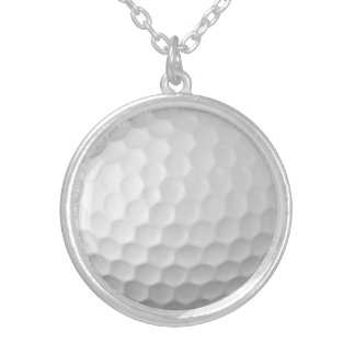 Golf Ball Dimples Texture Pattern 2 Silver Plated Necklace