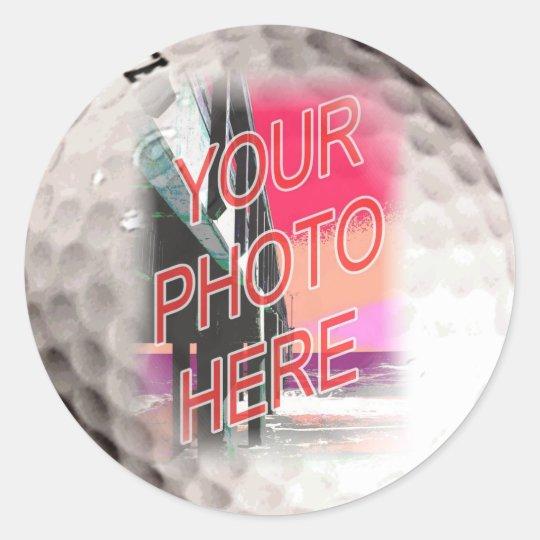 Golf Ball Frame Template Classic Round Sticker