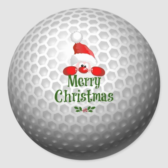 Golf Ball Holiday Design, Merry Christmas Classic Round