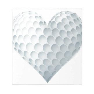 Golf Ball In A Heart Shape Notepad