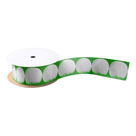 Golf Ball in Grass Satin Ribbon