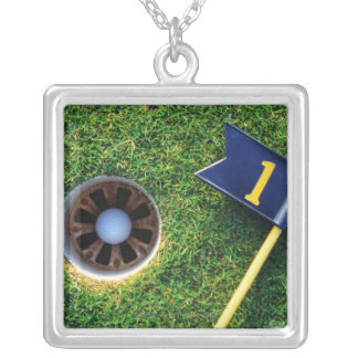 golf ball in hole silver plated necklace