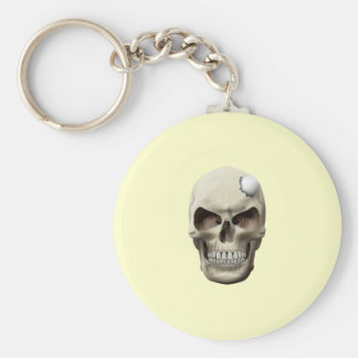 Golf Ball in Skull Basic Round Button Key Ring