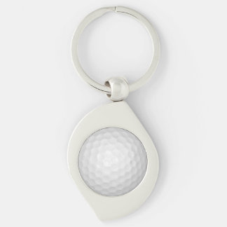 Golf Ball Silver-Colored Swirl Key Ring